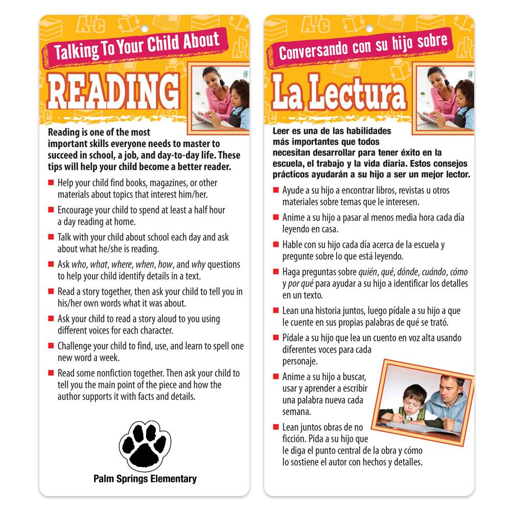 Talking To Your Child About Reading Two-Sided Bilingual Glancer - Personalization Available