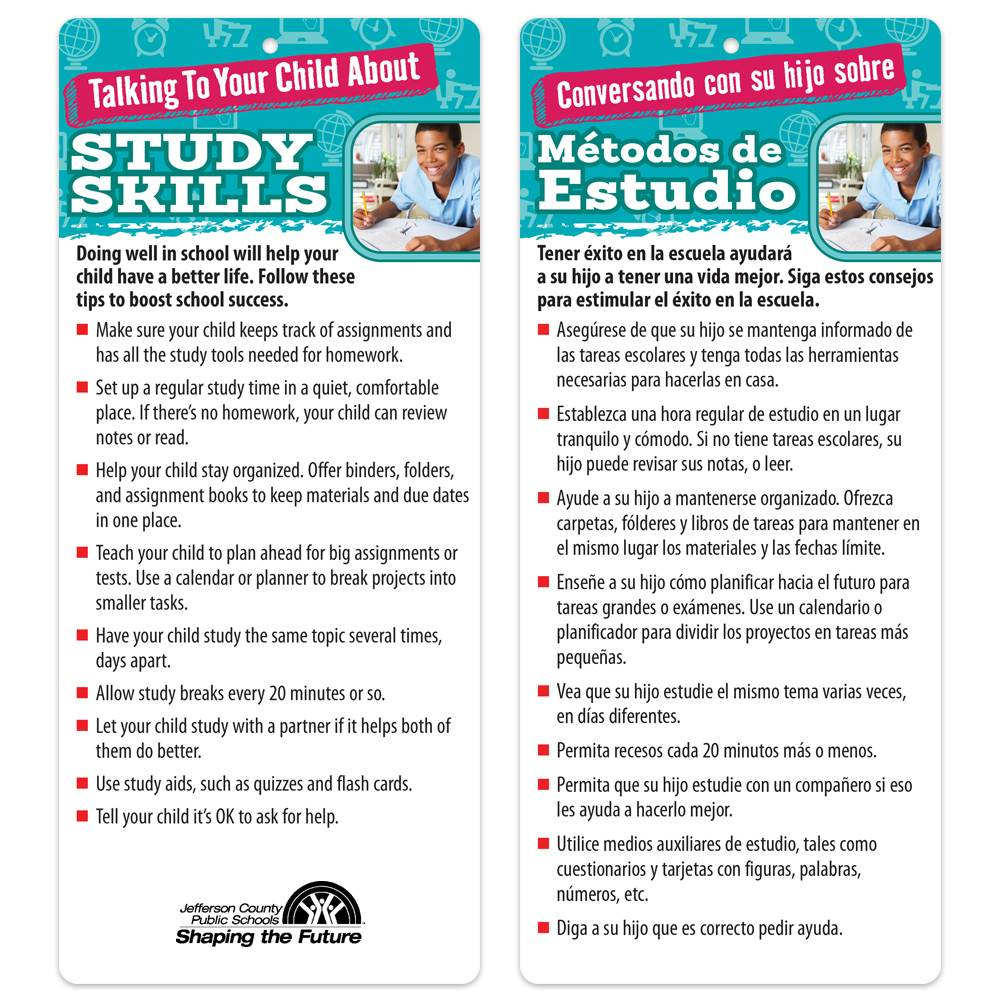 Talking To Your Child About Study Skills 2-Sided Bilingual Glancer - Personalization Available
