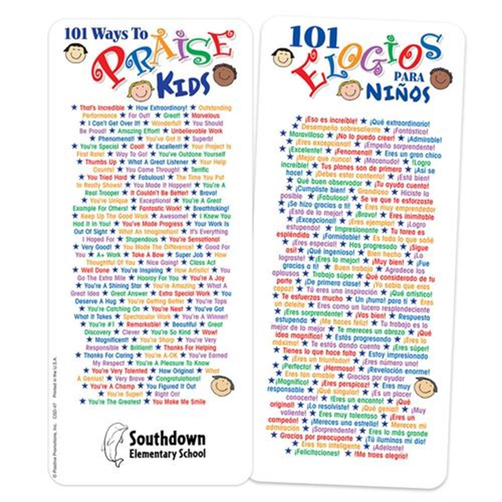 101 Ways To Praise Kids Two-Sided Bilingual Glancer - Personalization Available