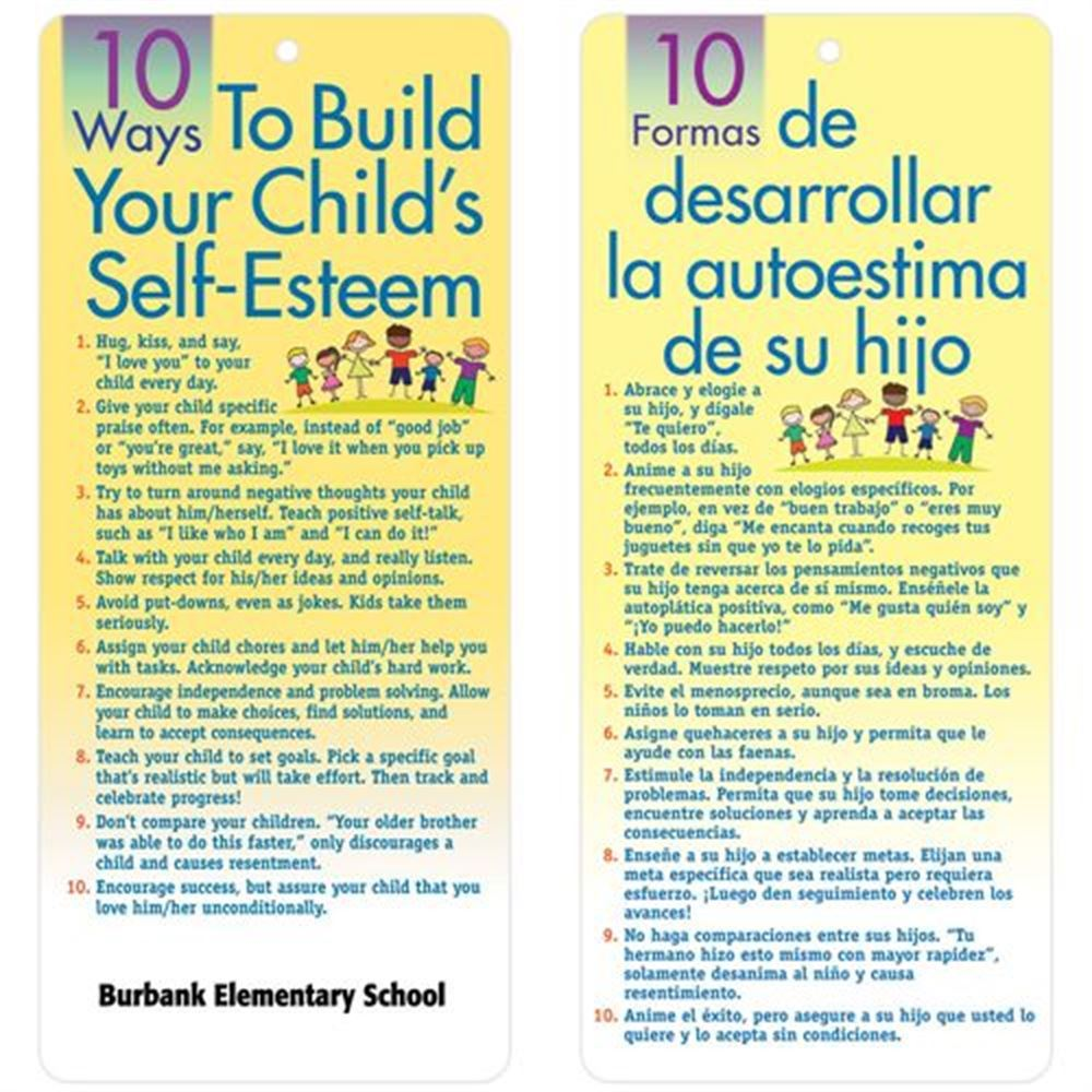 10 Ways To Build Your Child's Self-Esteem 2-Sided English/Spanish Glancer - Personalization Available