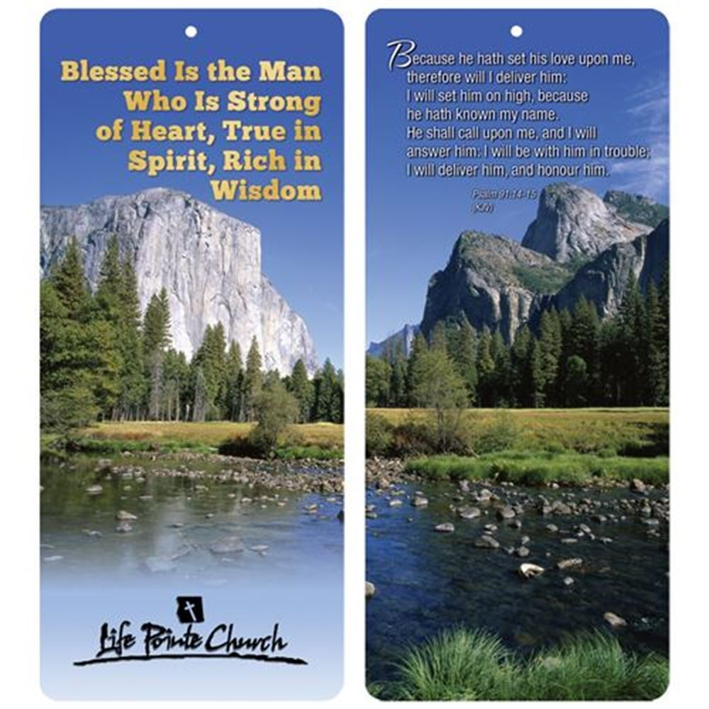Blessed Is The Man Who Is Strong Of Heart, True In Spirit, Rich In Wisdom 2-In-1 Bible Marker/Glancer - Personalization Available