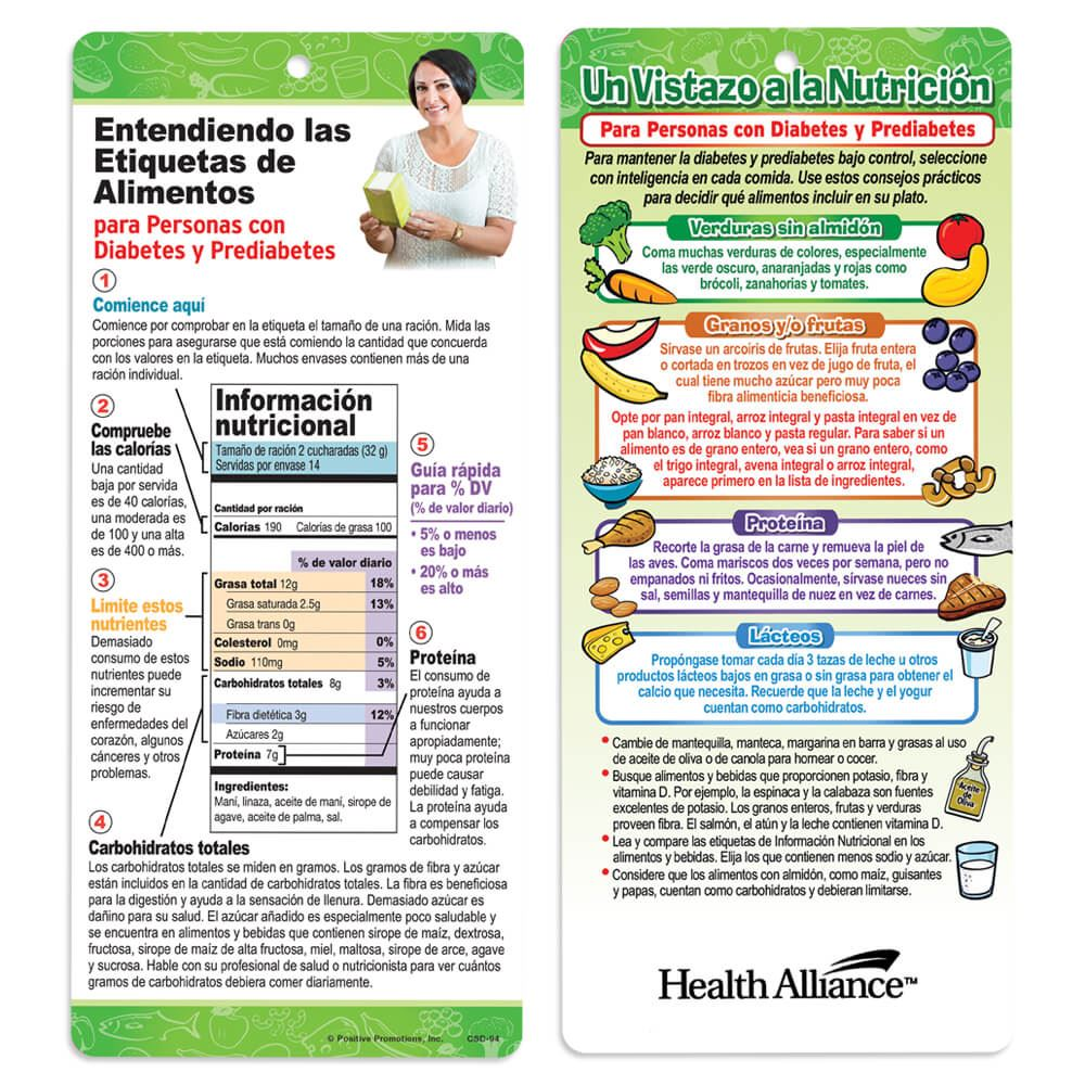 Nutrition At A Glance For People With Diabetes and Prediabetes Spanish Language Glancer - Personalization Available