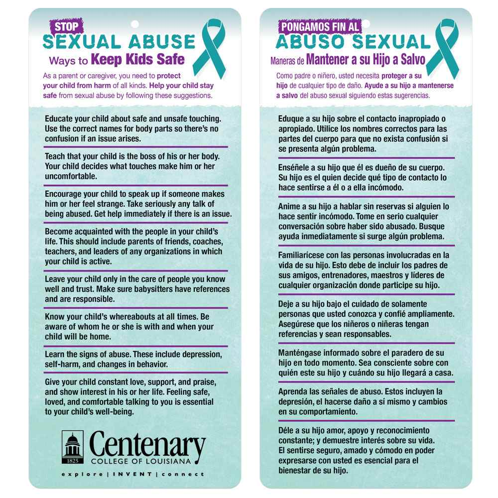 Stop Sexual Abuse: Ways To Keep Kids Safe Two-Sided English/Spanish Glancer
