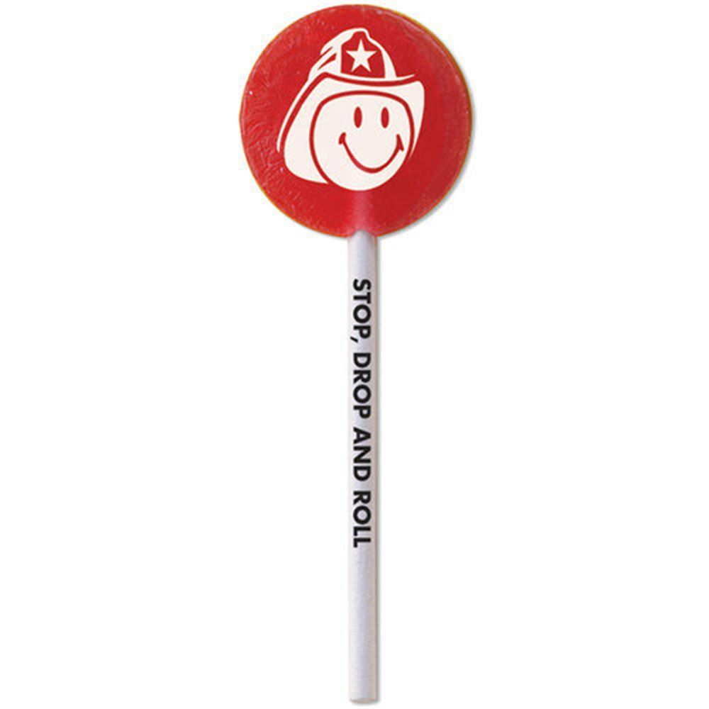 Smiley Face Firefighter Cherry Flavored Lollipops