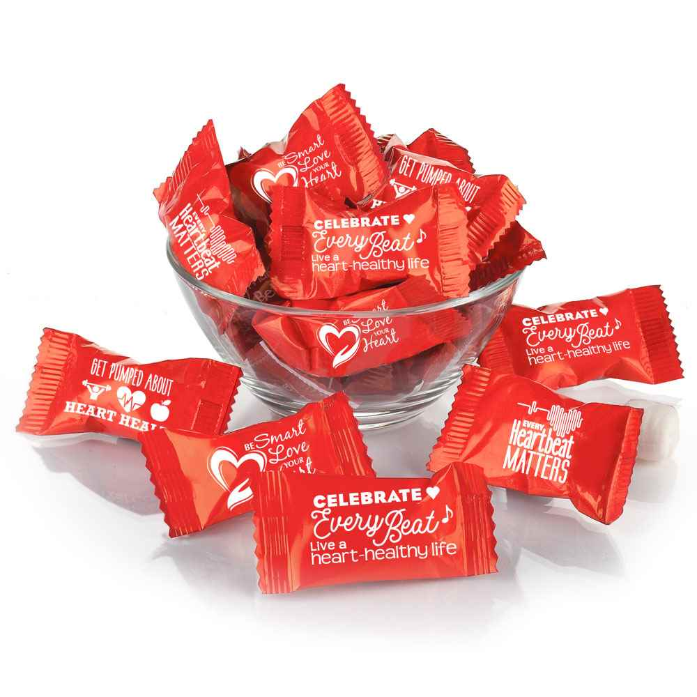 Heart Health Awareness Butter Mint Assortment in Red Slogan Wrappers