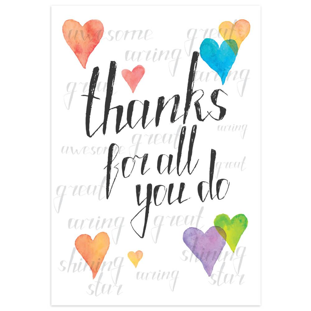 Thank You Hearts Design Greeting Card With Personalization