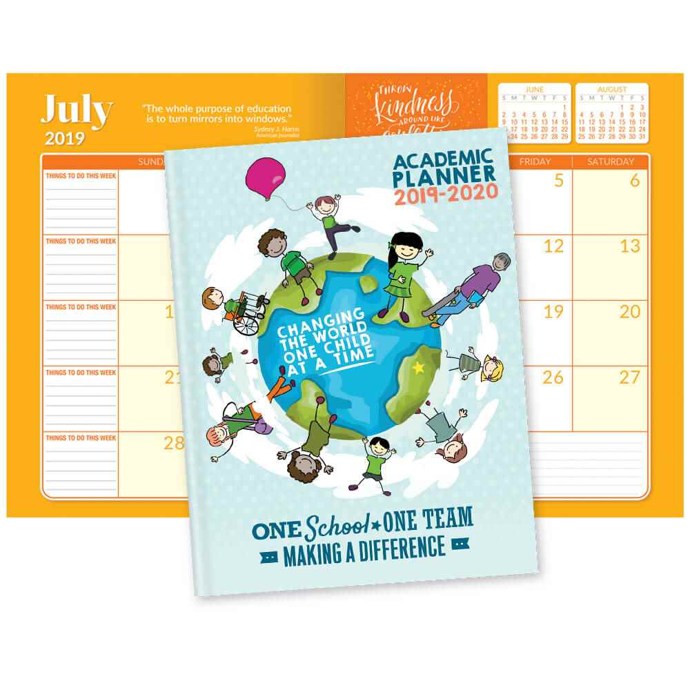 One School, One Team: Making A Difference 2019-2020 Academic Monthly Desk Planner