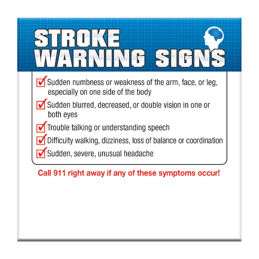 Stroke Warning Signs Message Magnet - Personalization Available
