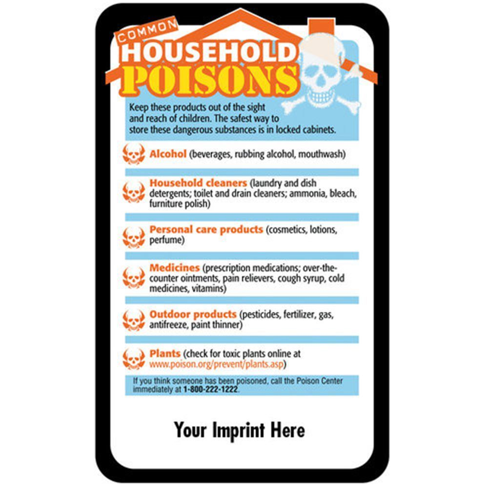 Common Household Poisons Safety-Themed Magnets - Personalization Available