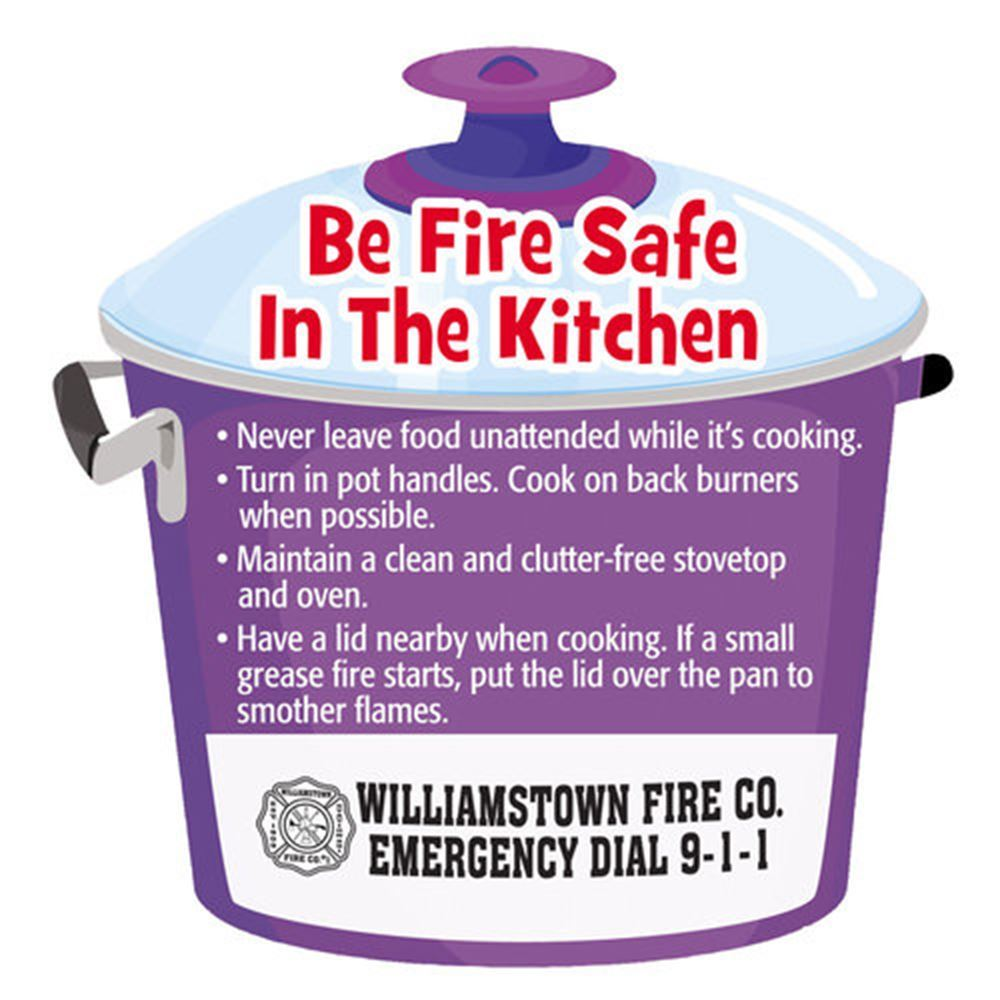 Be Fire Safe In The Kitchen Fire Safety Magnet - Personalization Available