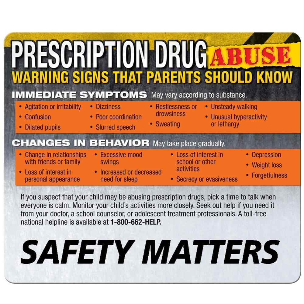 Warning Signs Of Prescription Drug Abuse Magnet | Positive Promotions