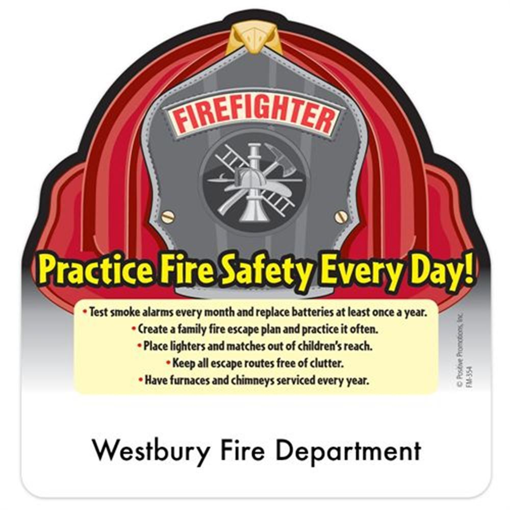 Fire Hat Magnet With Fire Safety Tips - Personalization Available