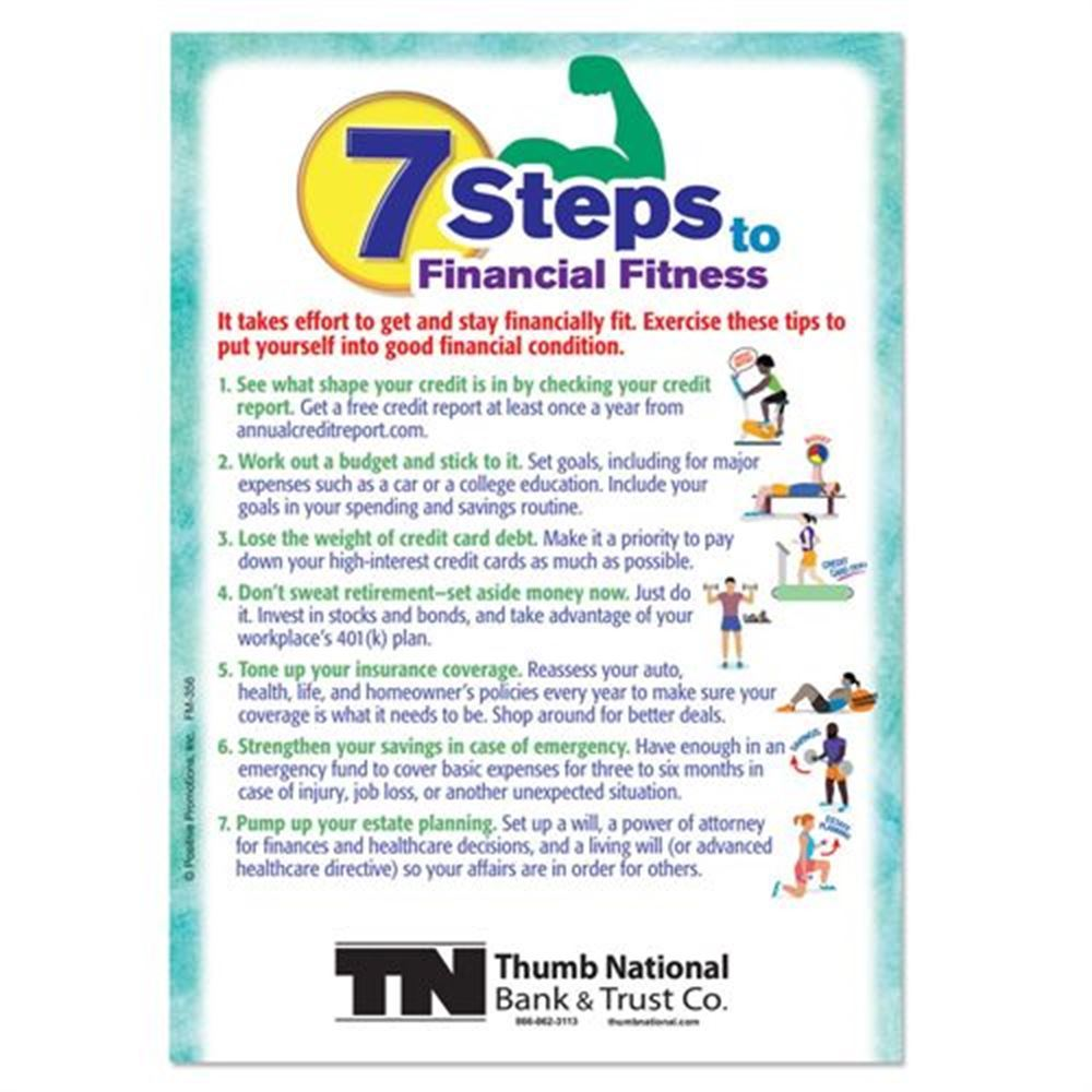 7 Steps To Financial Fitness Magnet - Personalization Available