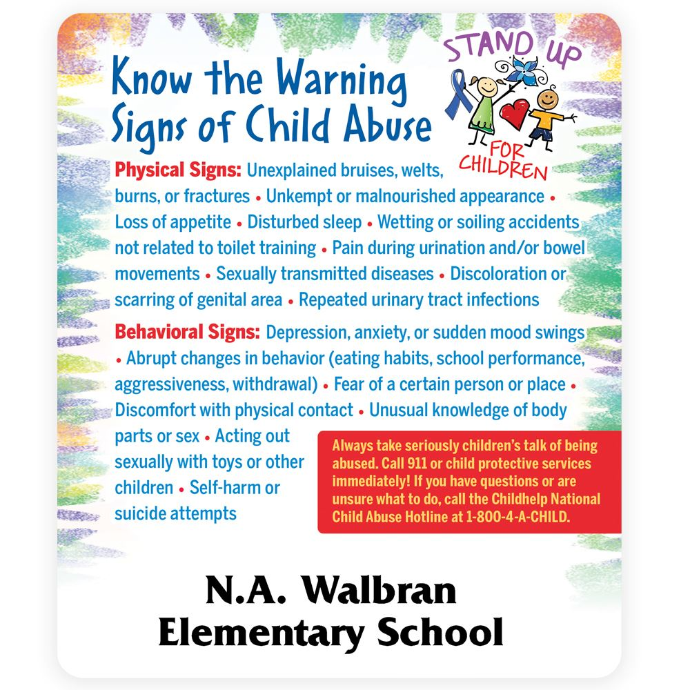 Know The Warning Signs Of Child Abuse Magnet - Personalization Available