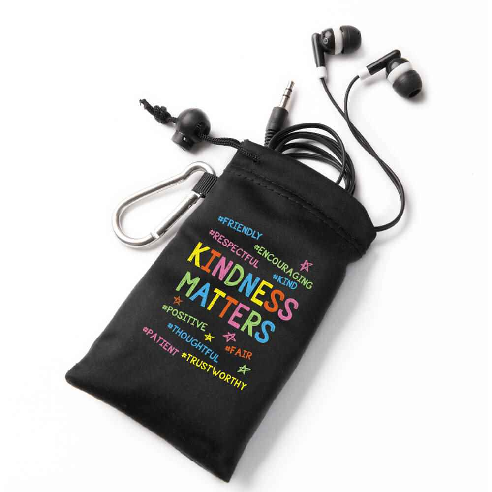 Kindness Matters Earbuds In Pouch