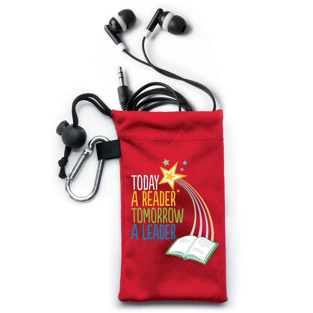 Today A Reader, Tomorrow A Leader Earbuds In Pouch