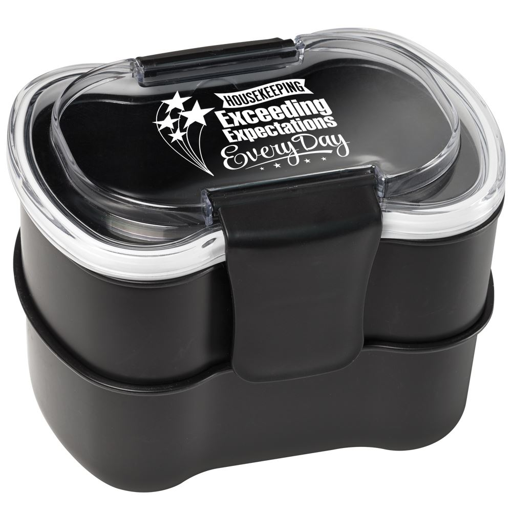 Housekeeping Exceeding Expectations Every Day 2-Tier Locking Food Containers
