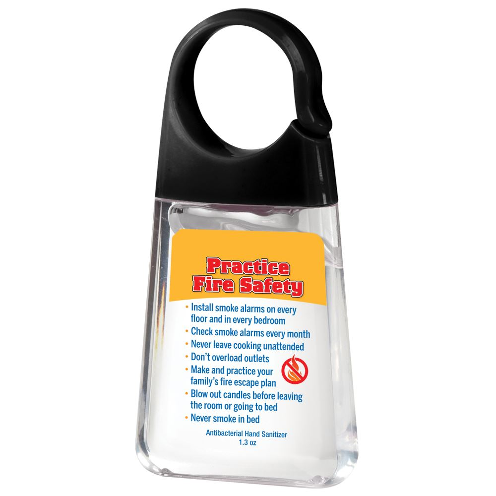 Fire Safety Tips Hand Sanitizer With Carabiner