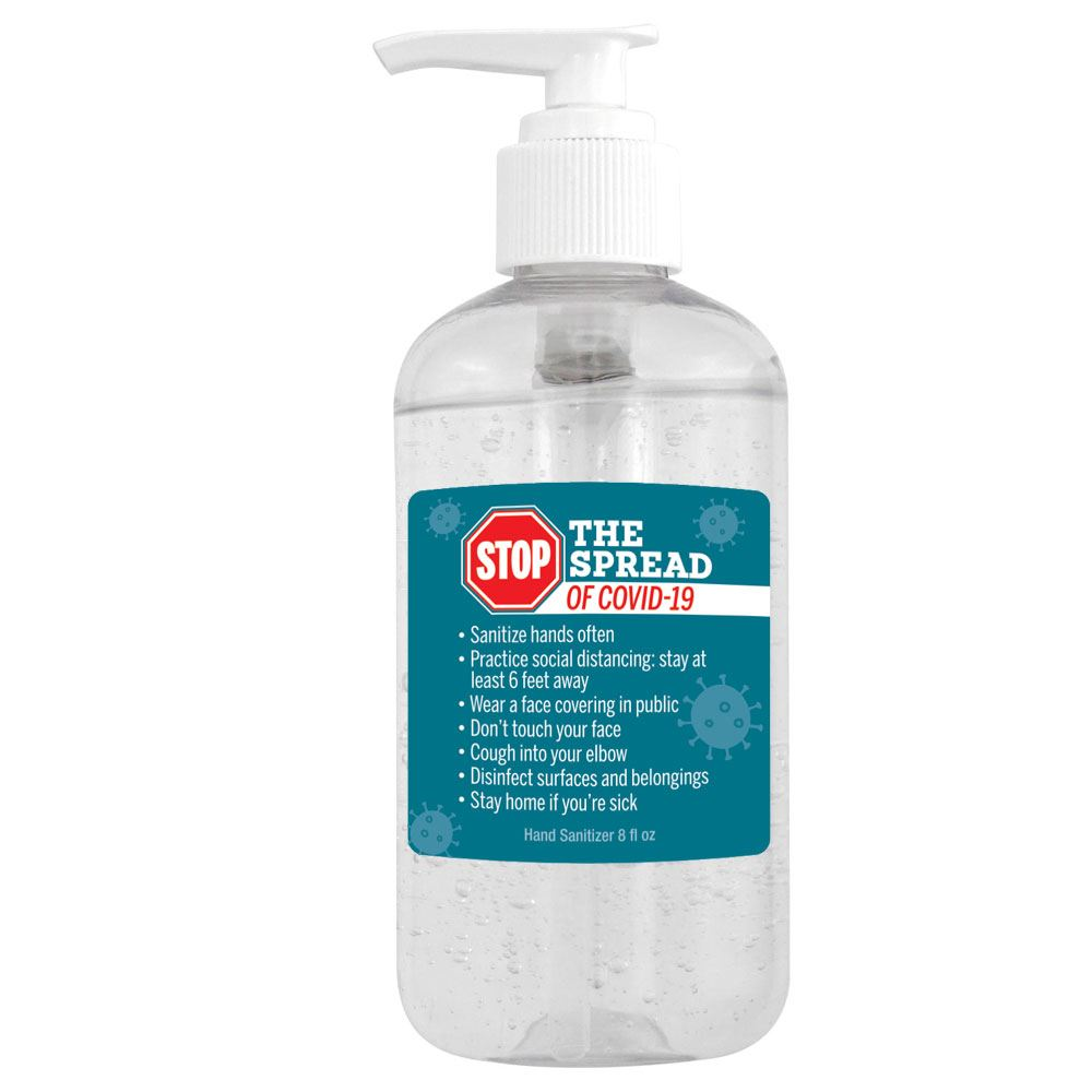 8 Oz. Pump Hand Sanitizer - Stop The Spread of COVID 19