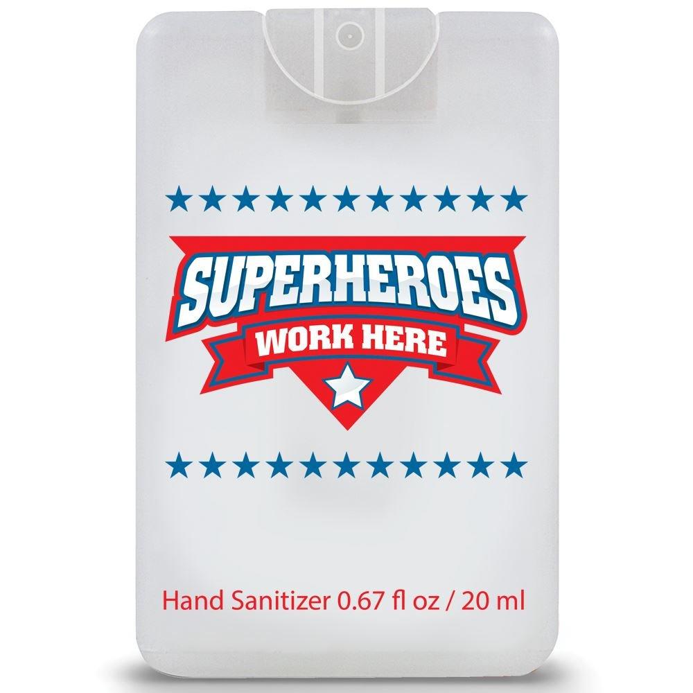 Superheroes Work Here Credit Card Style Hand Sanitizer Spray