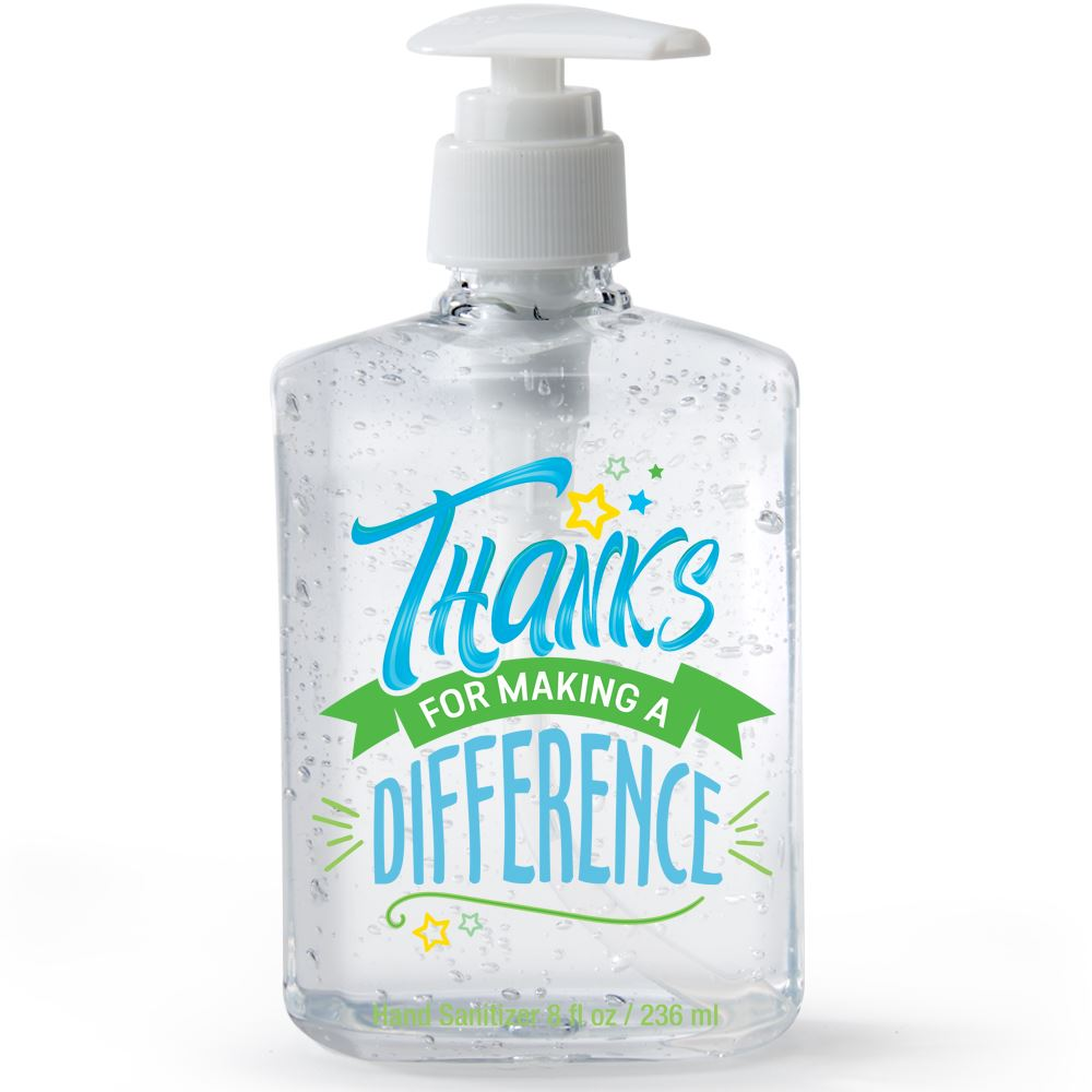8 Oz. Sanitizer Gel Pump - Thanks For Making A Difference