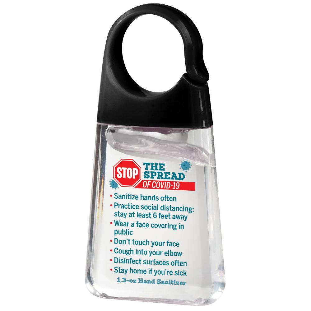Stop The Spread Of Covid-19 Hand Sanitizer With Carabiner Clip