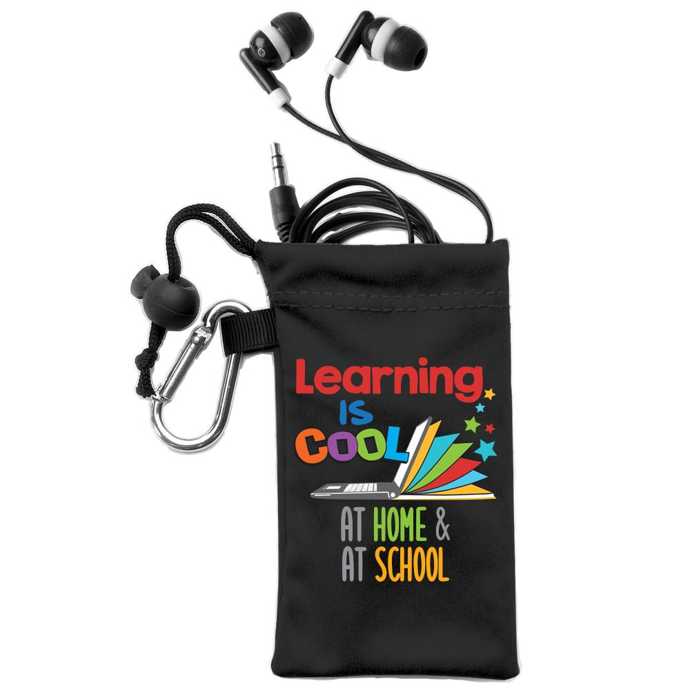 Learning Is Cool At Home & At School Earbuds In Pouch