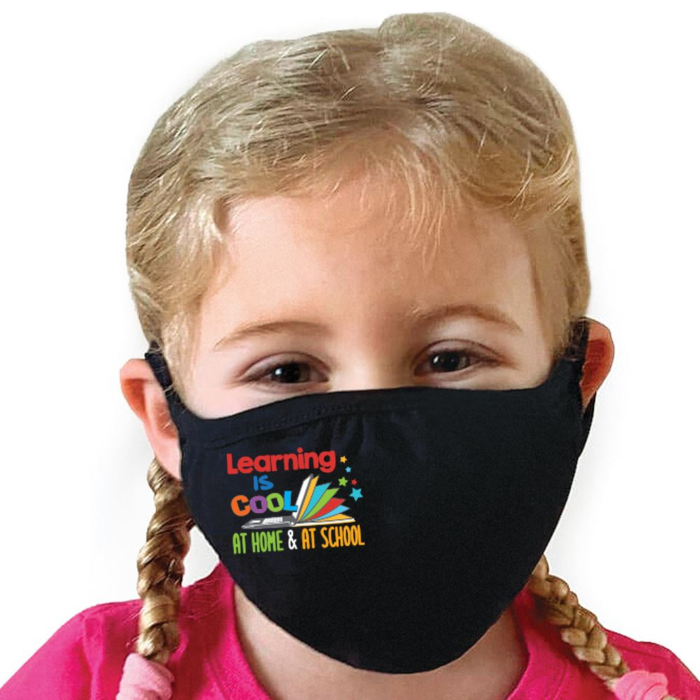 Learning Is Cool At Home & At School Youth 2-Ply 100% Cotton Mask