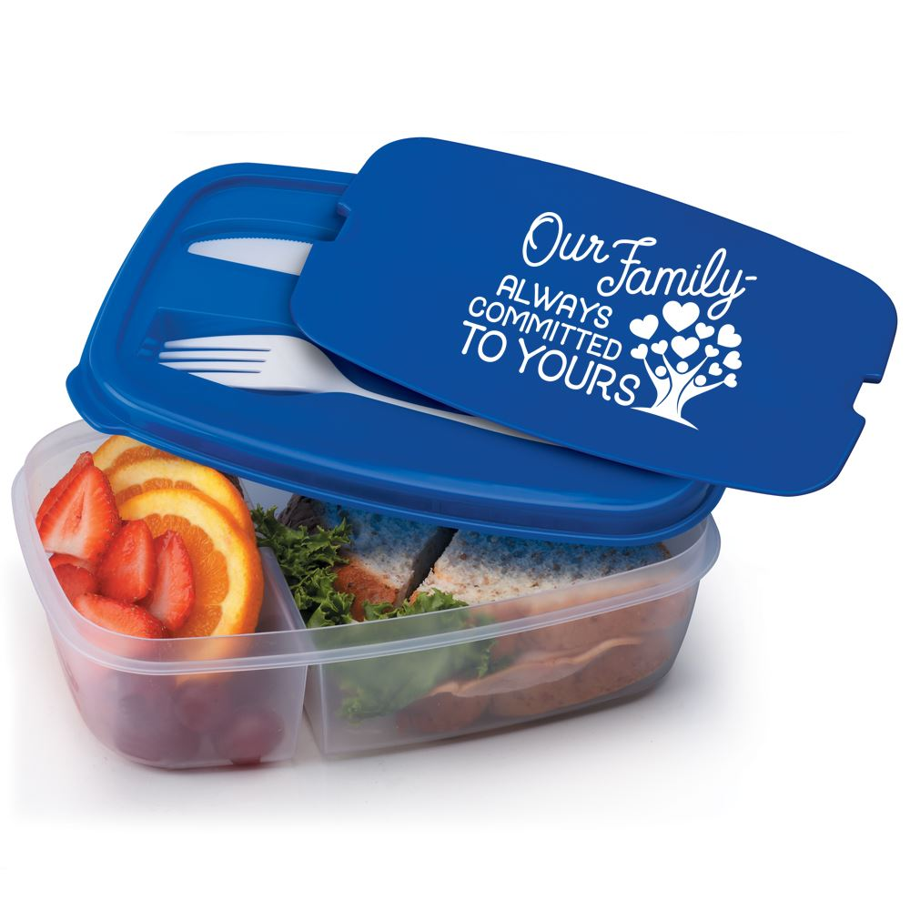 Our Family: Always Committed To Yours 2-Section Food Container With Utensils
