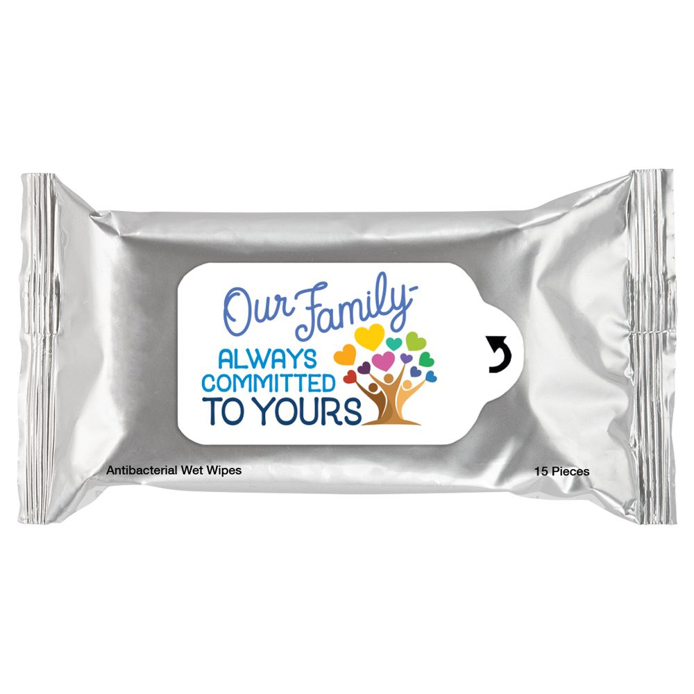 Our Family: Always Committed To Yours Antibacterial Wet Wipes
