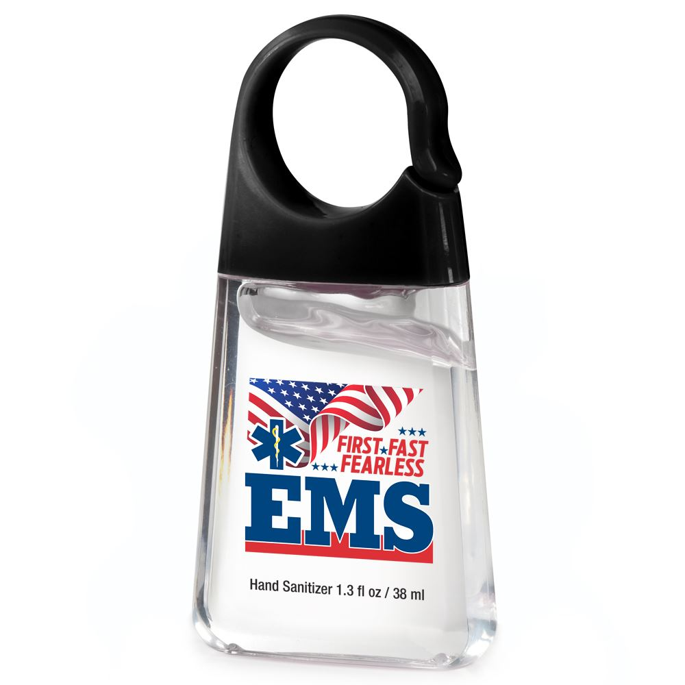 EMS: First. Fast. Fearless. 1.3-oz. Hand Sanitizer with Carabiner