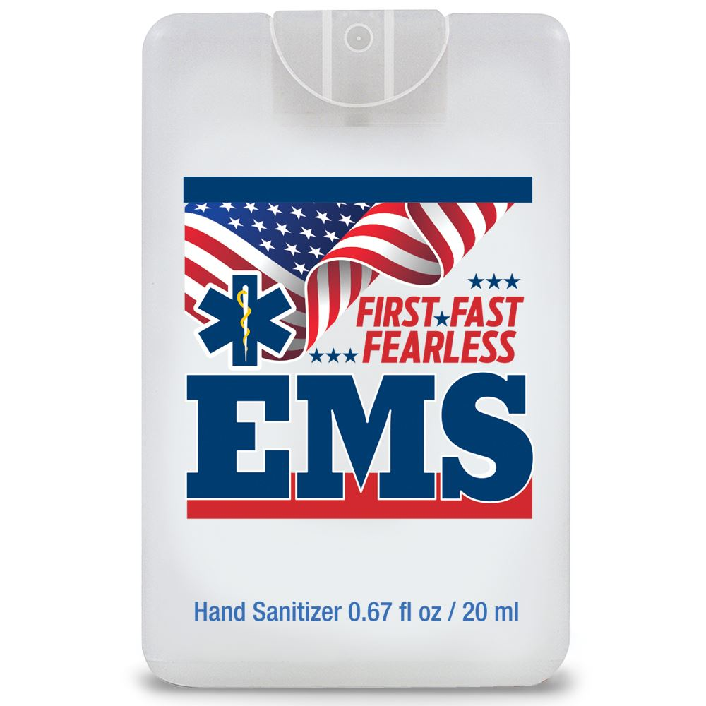 EMS: First. Fast. Fearless Credit Card Style Antibacterial Hand Sanitizer Spray