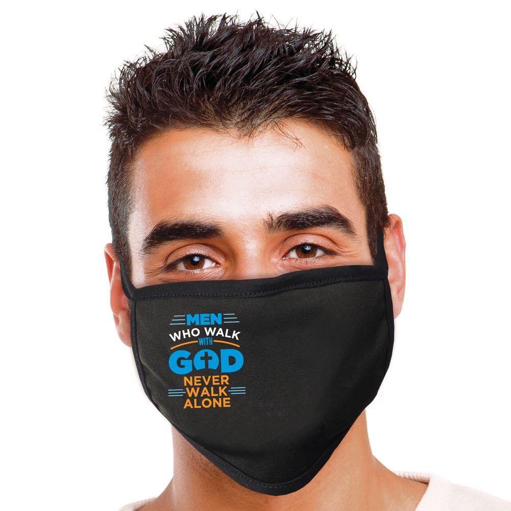 Men Who Walk With God Never Walk Alone 2-Ply 100% Cotton Face Mask - Increments of 10