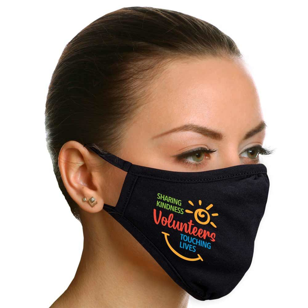 Volunteers: Sharing Kindness, Touching Lives 2-Ply 100% Cotton Face Mask