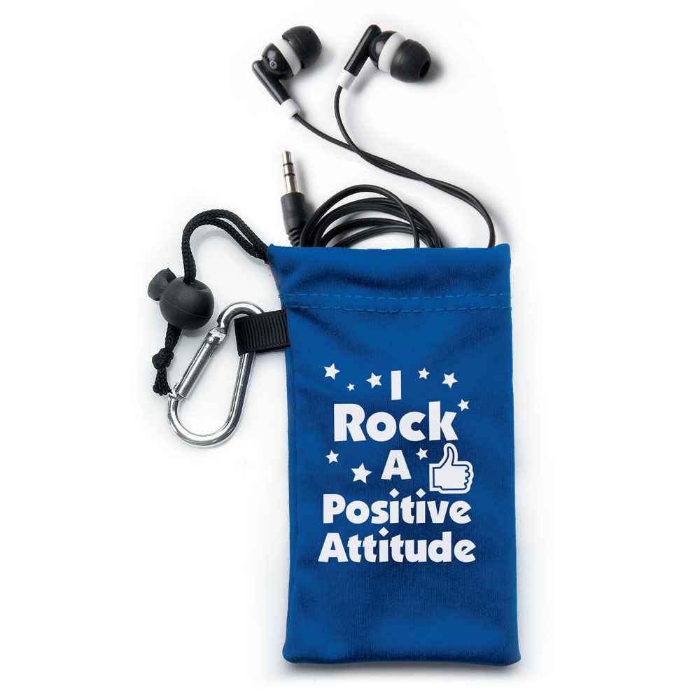 I Rock A Positive Attitude Earbuds In Pouch