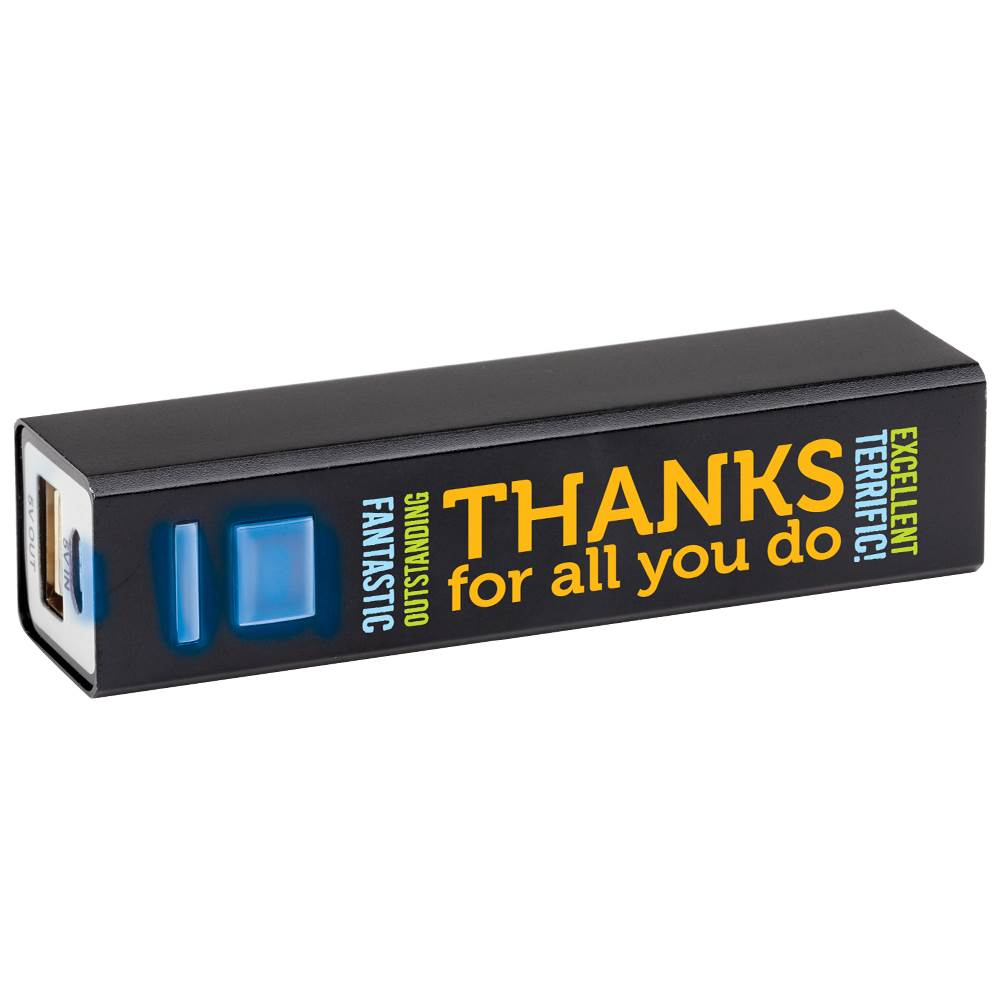 Thanks For All You Do Black Metal Power Bank