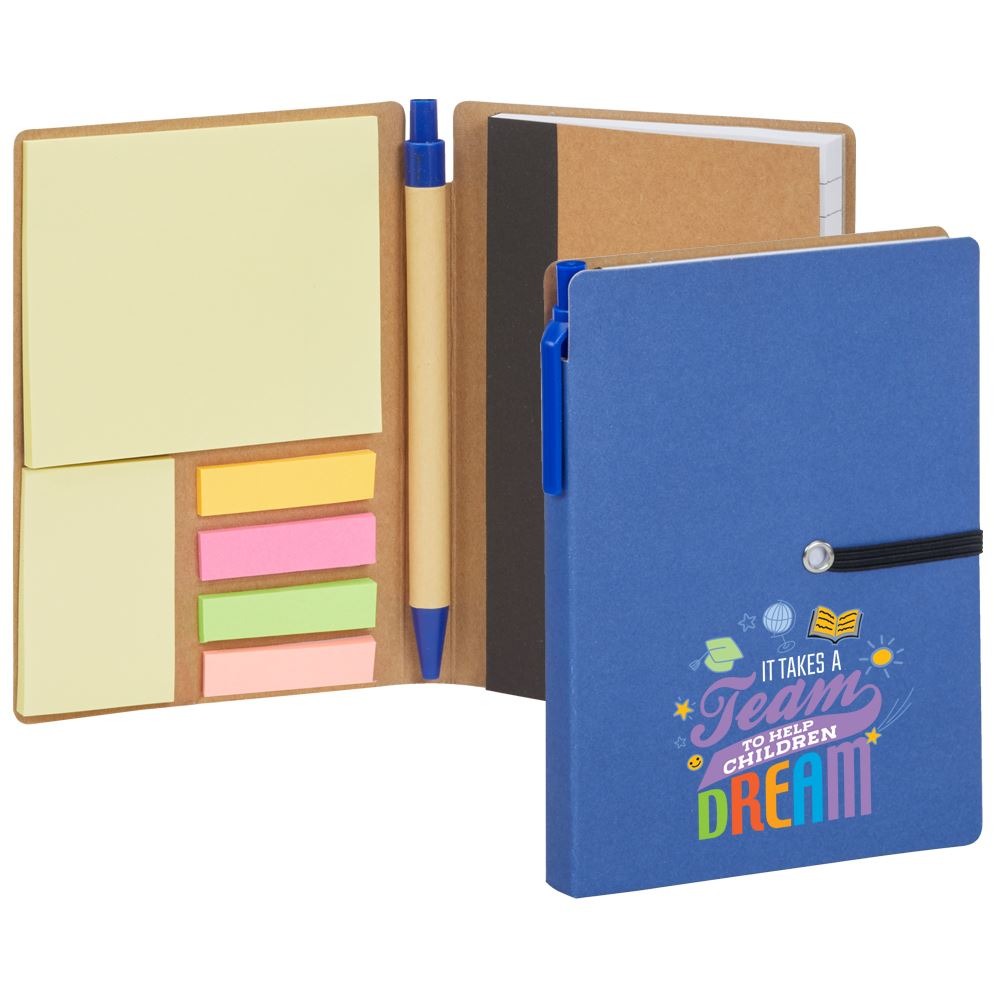 It Takes A Team To Help Children Dream Jotter With Sticky Notes and Pen