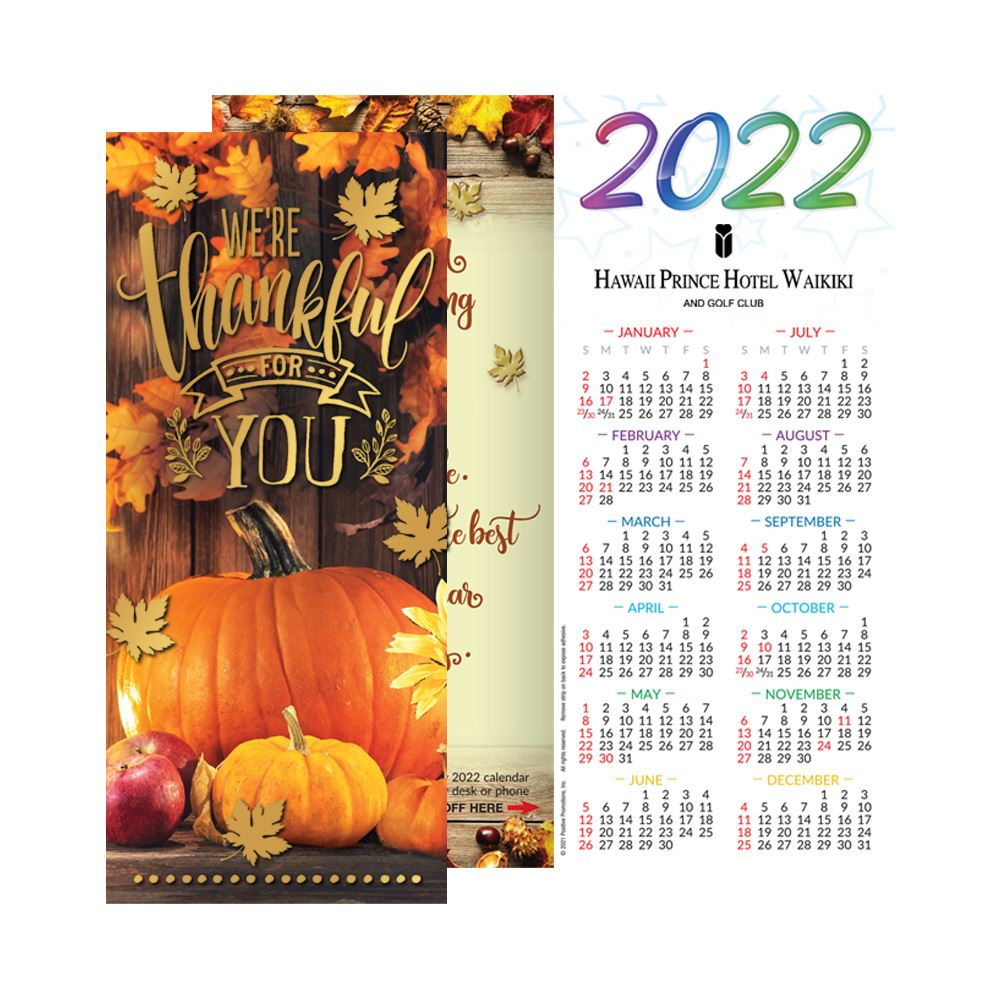 We're Thankful For You 2022 Gold-Foil Stamped Holiday Greeting Card Calendar - Personalization Available