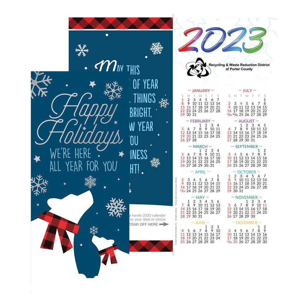 Happy Holidays We're Here All Year for You 2021 Silver Foil-Stamped Greeting Card Calendar - Personalization Available