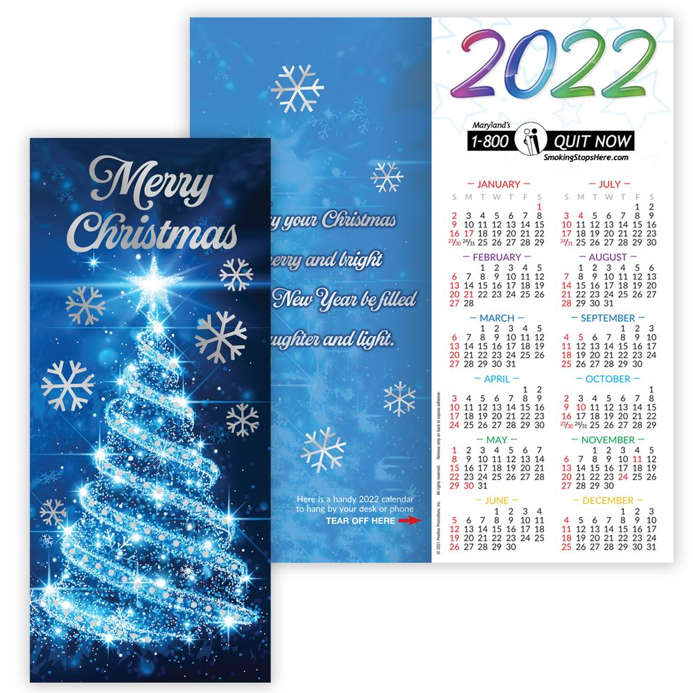 Merry Christmas 2022 Silver Foil-Stamped Holiday Greeting Card Calendar - Personalization Available