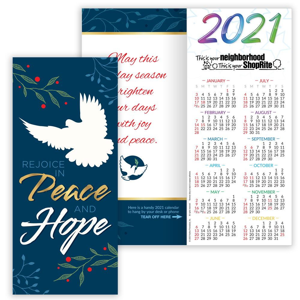 Rejoice In Peace And Hope 2021 Gold Foil-Stamped Holiday Greeting Card Calendar - Personalization Available