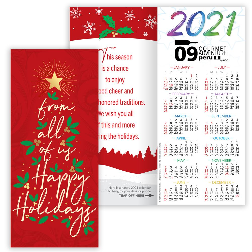 from all of us happy holidays gold foil stamped 2021 greetings card calendar personalization available positive promotions from all of us happy holidays gold foil stamped 2021 greetings card calendar personalization available
