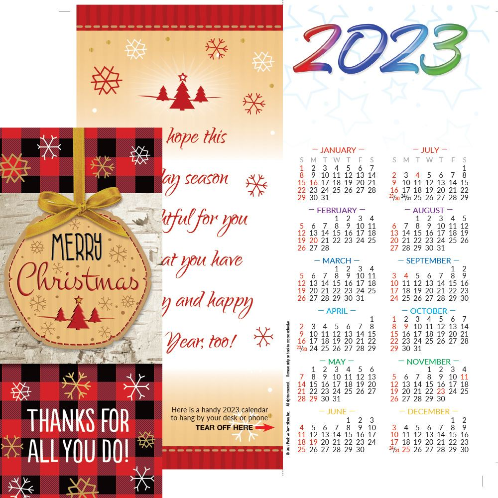 Merry Christmas: Thanks For All You Do! 2022 Gold Foil-Stamped Greeting Card Calendar - Personalization Available