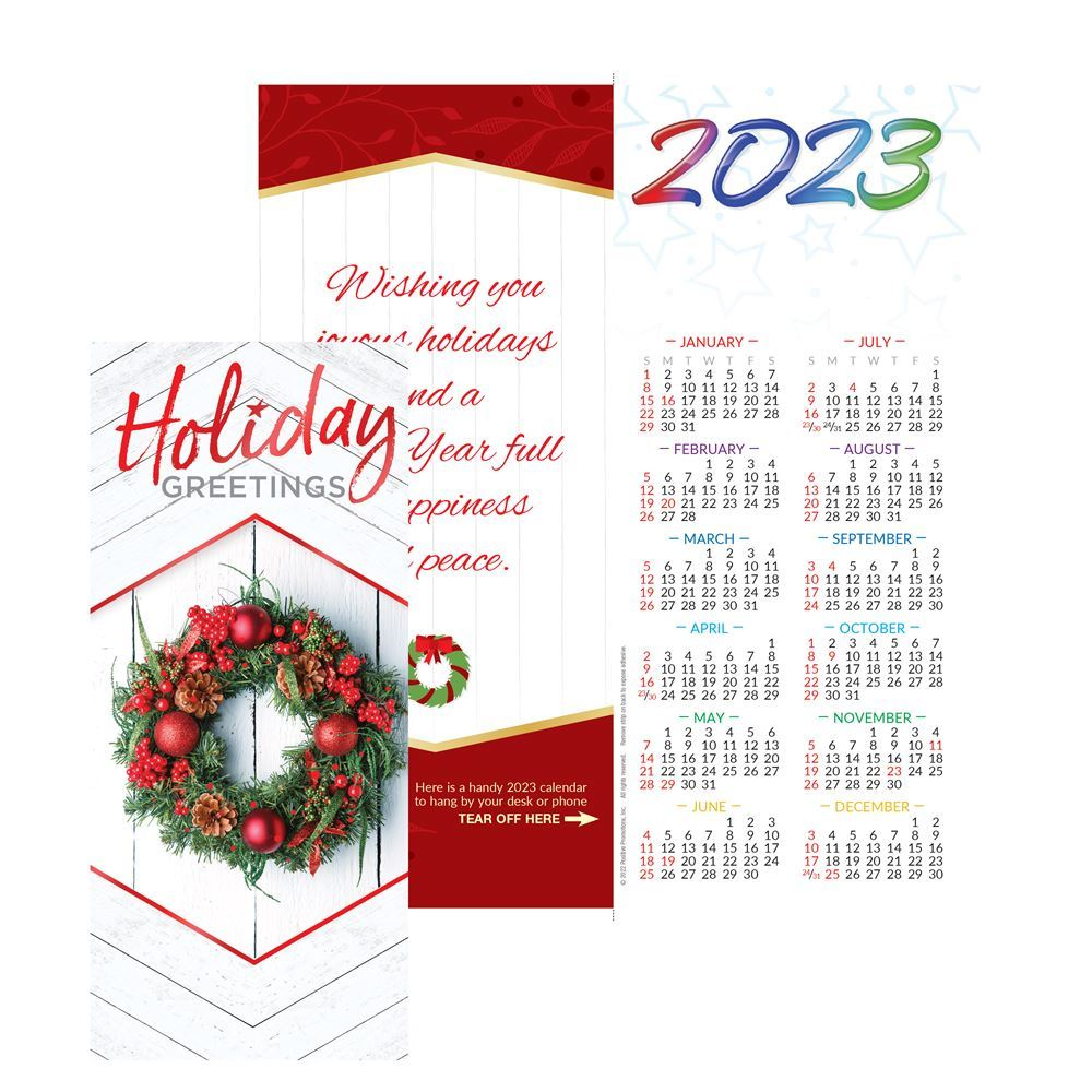 Holiday Greetings 2022 Red Foil-Stamped Greeting Card Calendar - Personalization Available