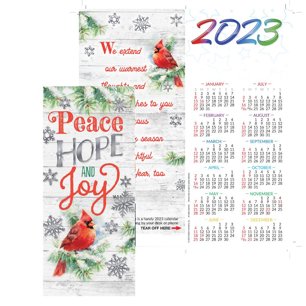 Peace, Hope and Joy 2022 Silver Foil-Stamped Greeting Card Calendar - Personalization Available