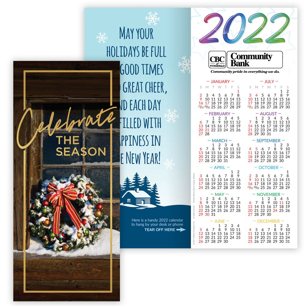 Celebrate The Season 2022 Gold Foil-Stamped Greeting Card Calendar - Personalization Available