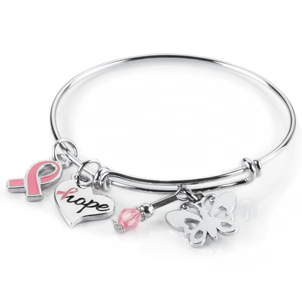 Breast Cancer Awareness Charm Bangle Bracelet | Positive Promotions