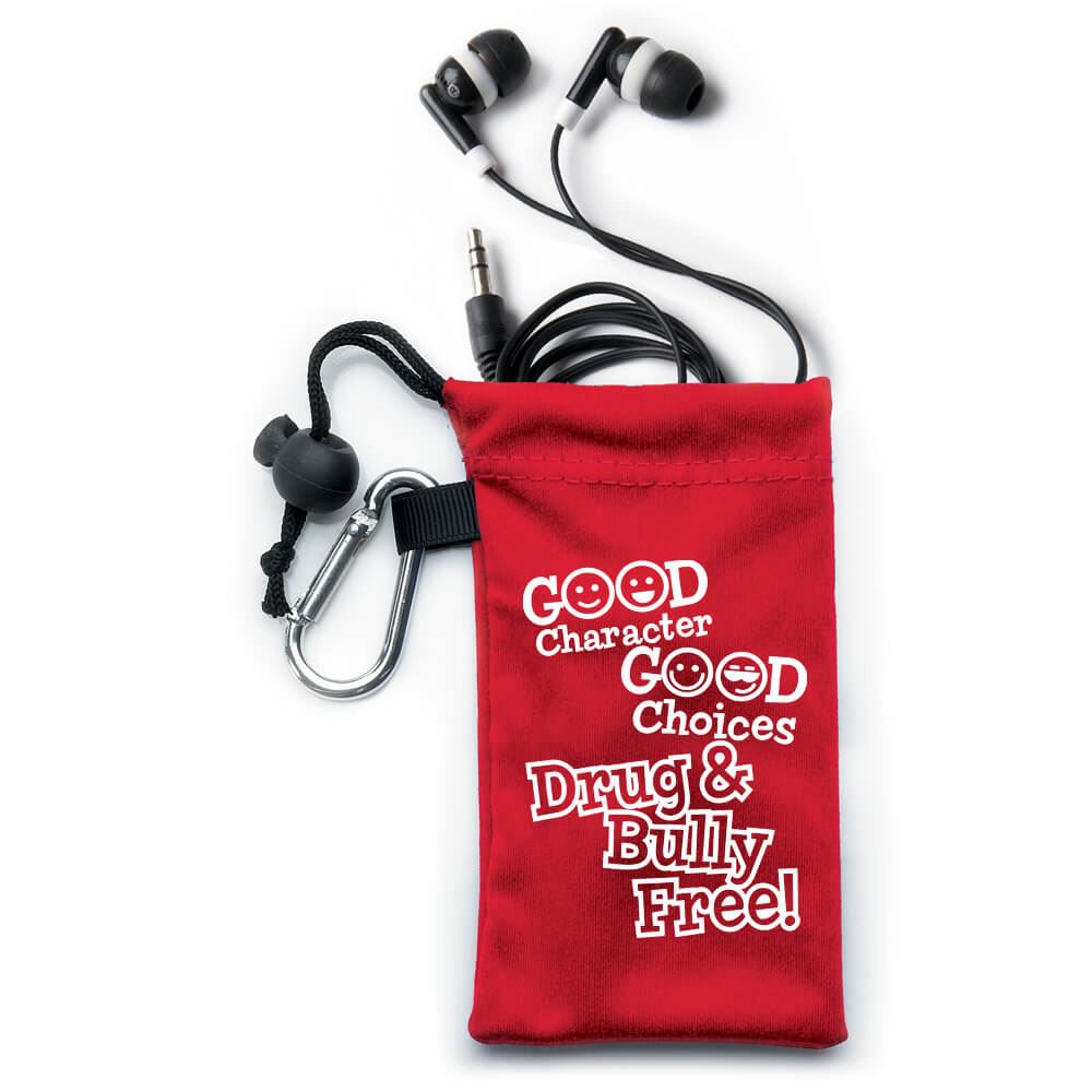 Good Character, Good Choices: Drug and Bully Free! Earbuds in Pouch