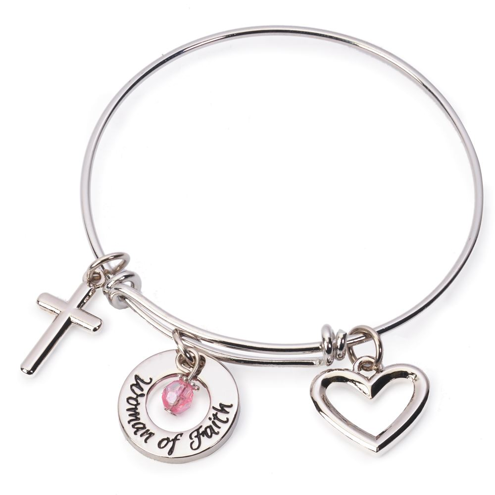 Woman of Faith Charm Bangle Bracelet
