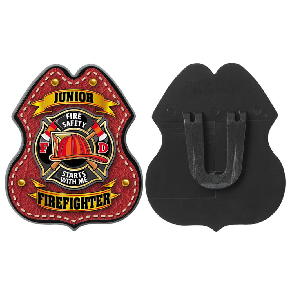 Red Leather Clip-On Junior Firefighter Badge